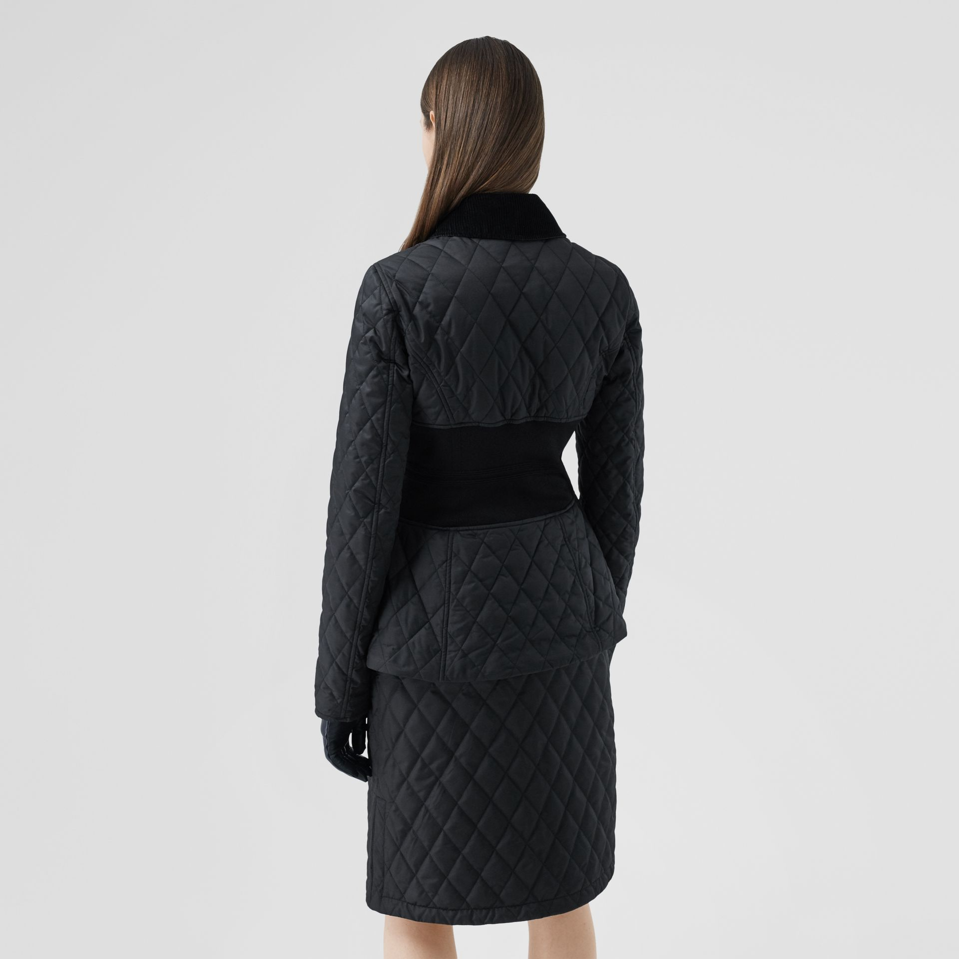 Rib Knit Panel Diamond Quilted Barn Jacket in Black - Women | Burberry United Kingdom - gallery image 2