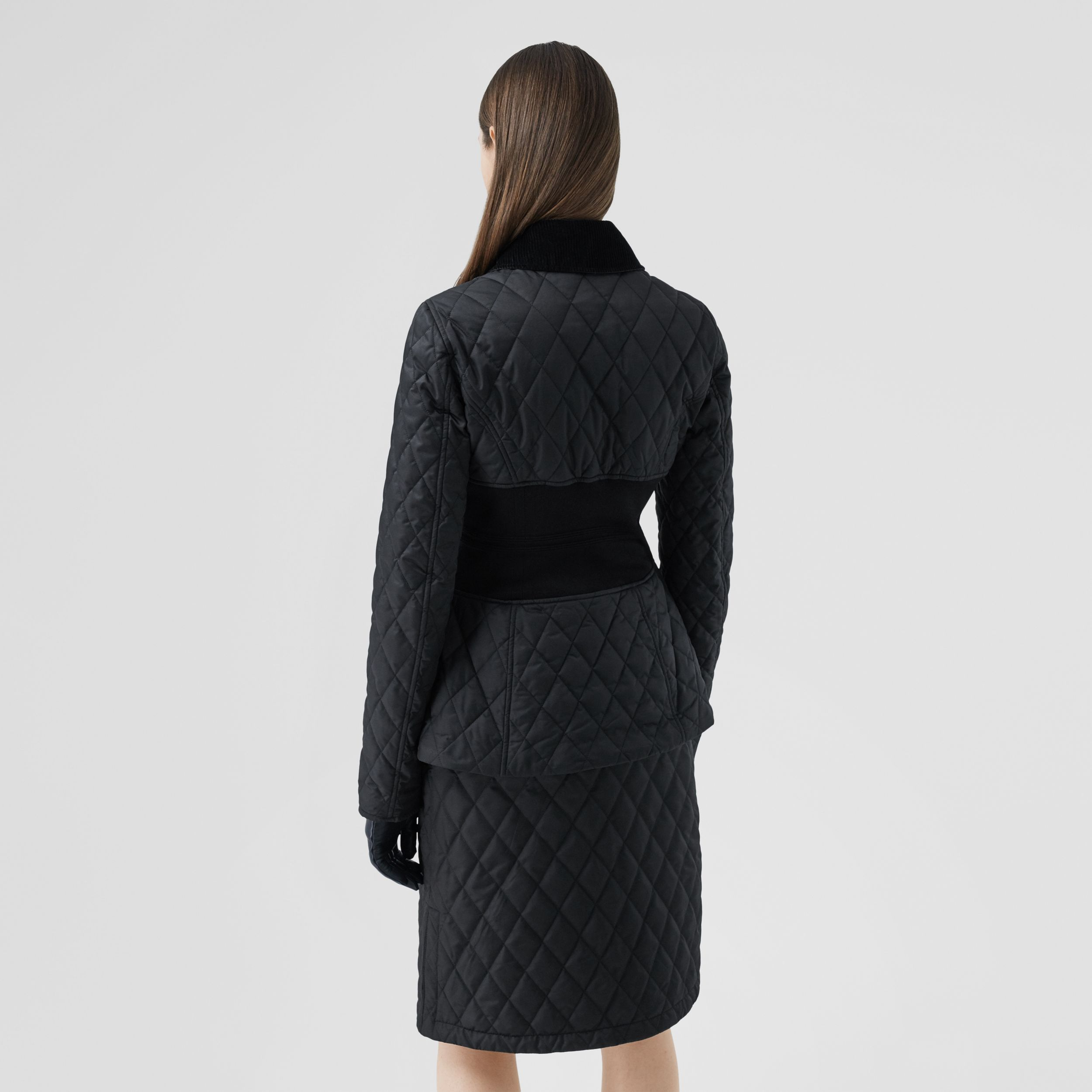 Rib Knit Panel Diamond Quilted Barn Jacket in Black - Women | Burberry - 3