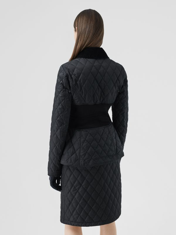 Rib Knit Panel Diamond Quilted Barn Jacket in Black - Women | Burberry United Kingdom - cell image 2