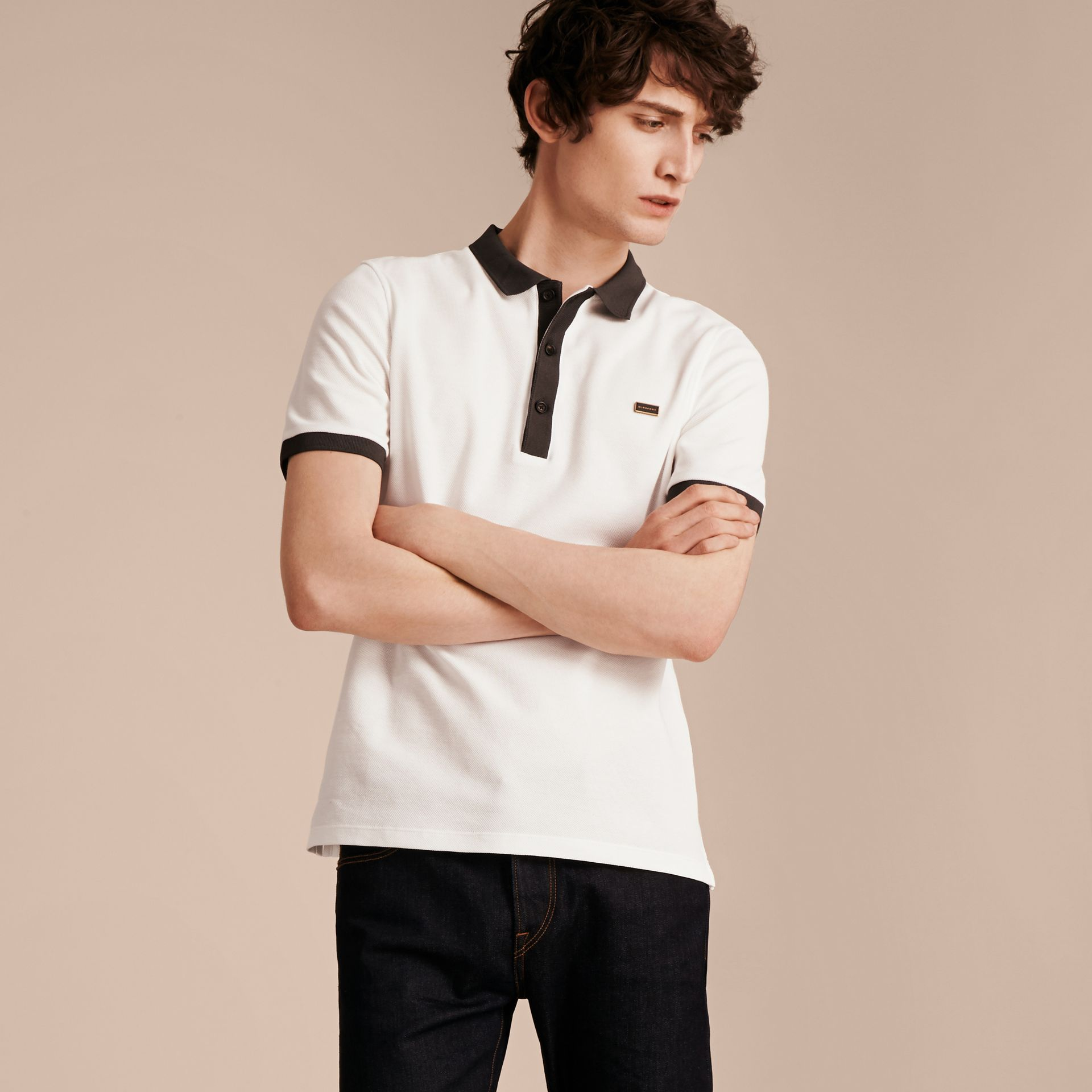 White/charcoal Mercerised Cotton Piqué Polo Shirt White/charcoal - gallery image 6