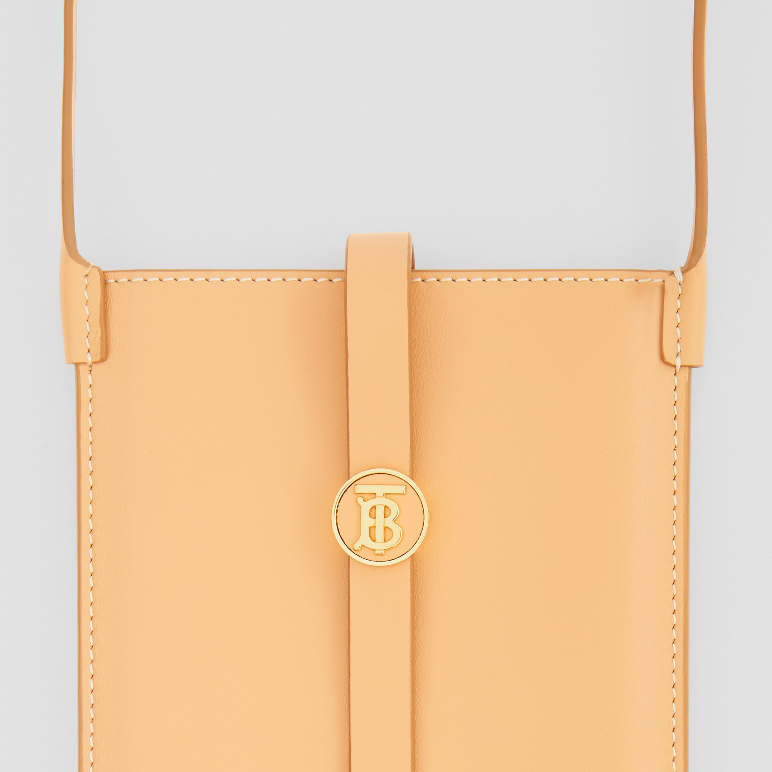 Topstitched Leather Anne Phone Case with Strap in Warm Sand - Women | Burberry - 2