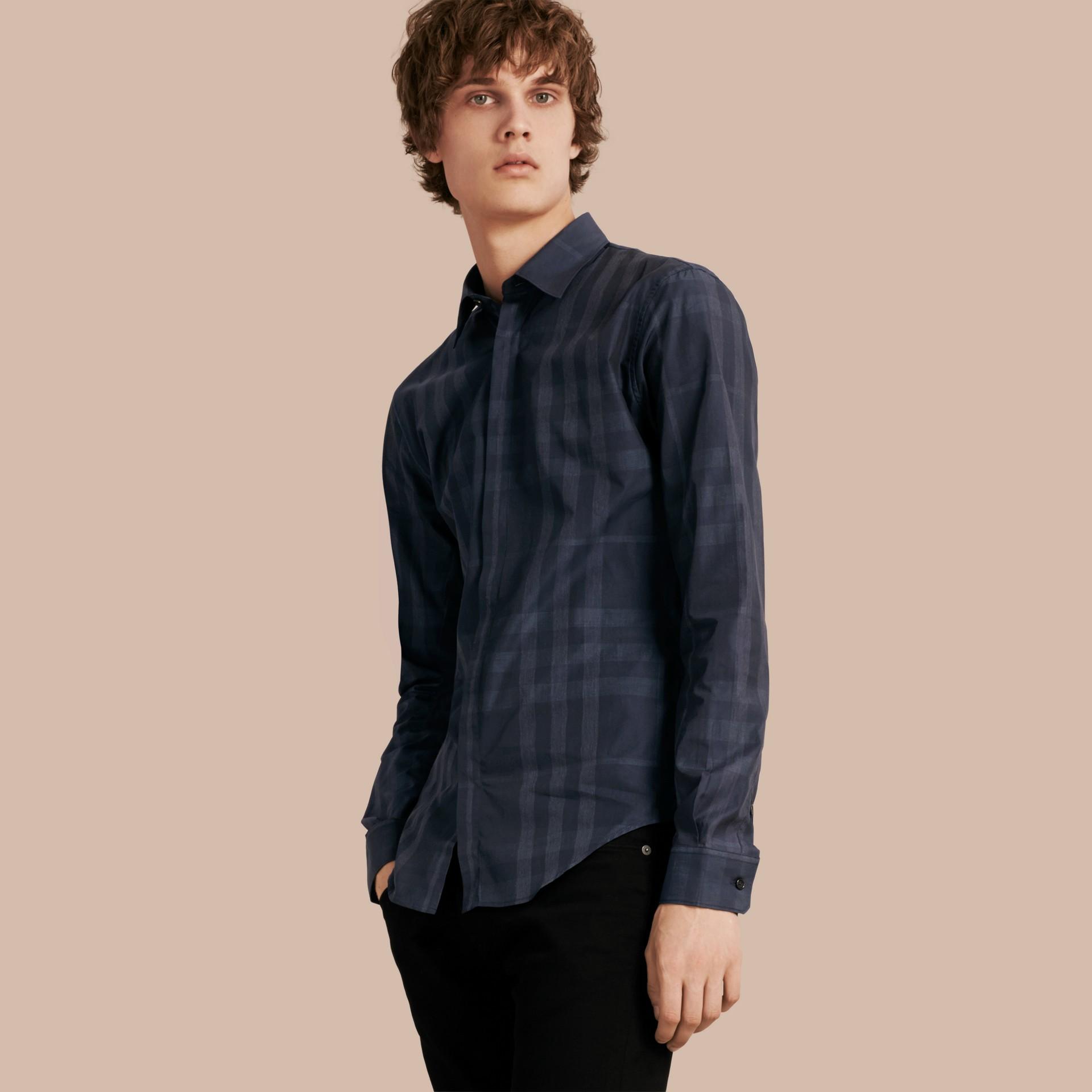 네이비 체크 코튼 셔츠 네이비 - 갤러리 이미지 1
