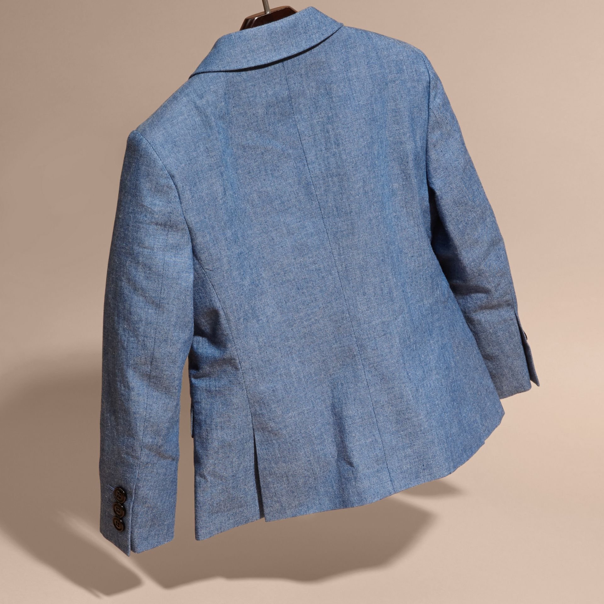 Stone blue Chambray Cotton Blazer - gallery image 4