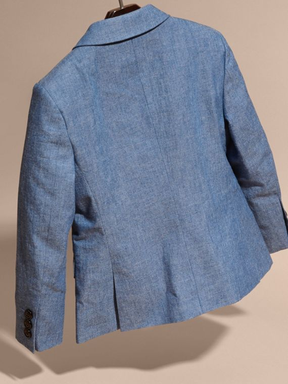 Stone blue Chambray Cotton Blazer - cell image 3