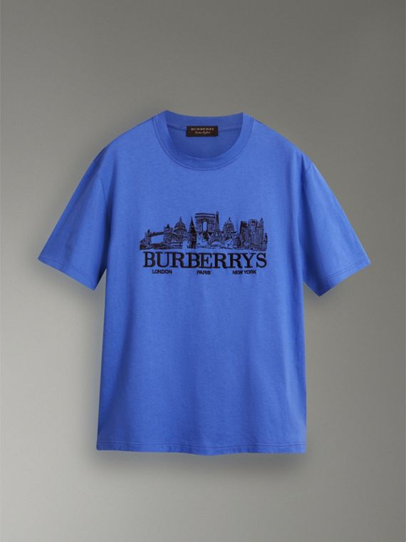 Reissued Cotton T-shirt in Cornflower Blue - Women | Burberry United Kingdom - cell image 3