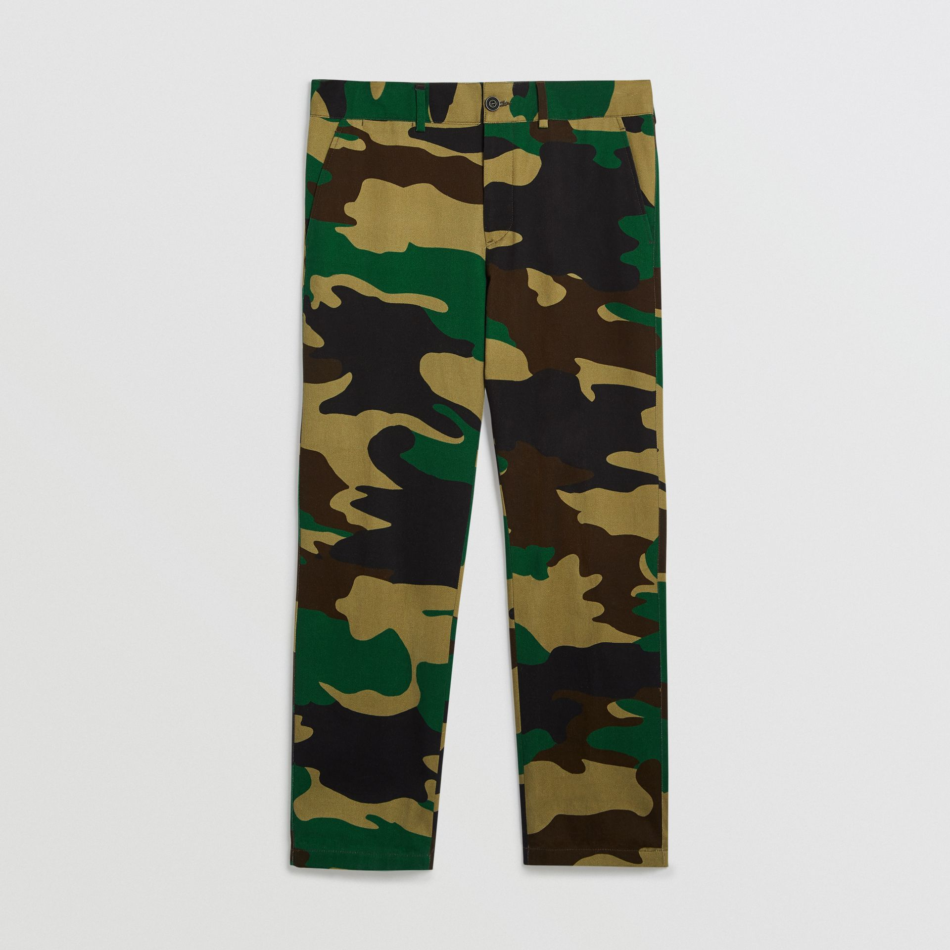 Slim Fit Camouflage Print Cotton Chinos in Forest Green - Men | Burberry - gallery image 3