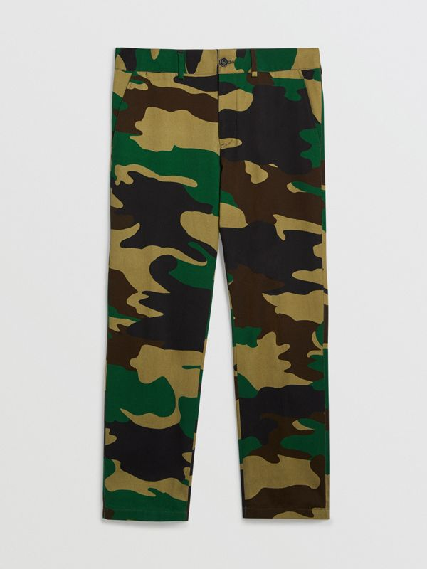 Slim Fit Camouflage Print Cotton Chinos in Forest Green - Men | Burberry - cell image 3