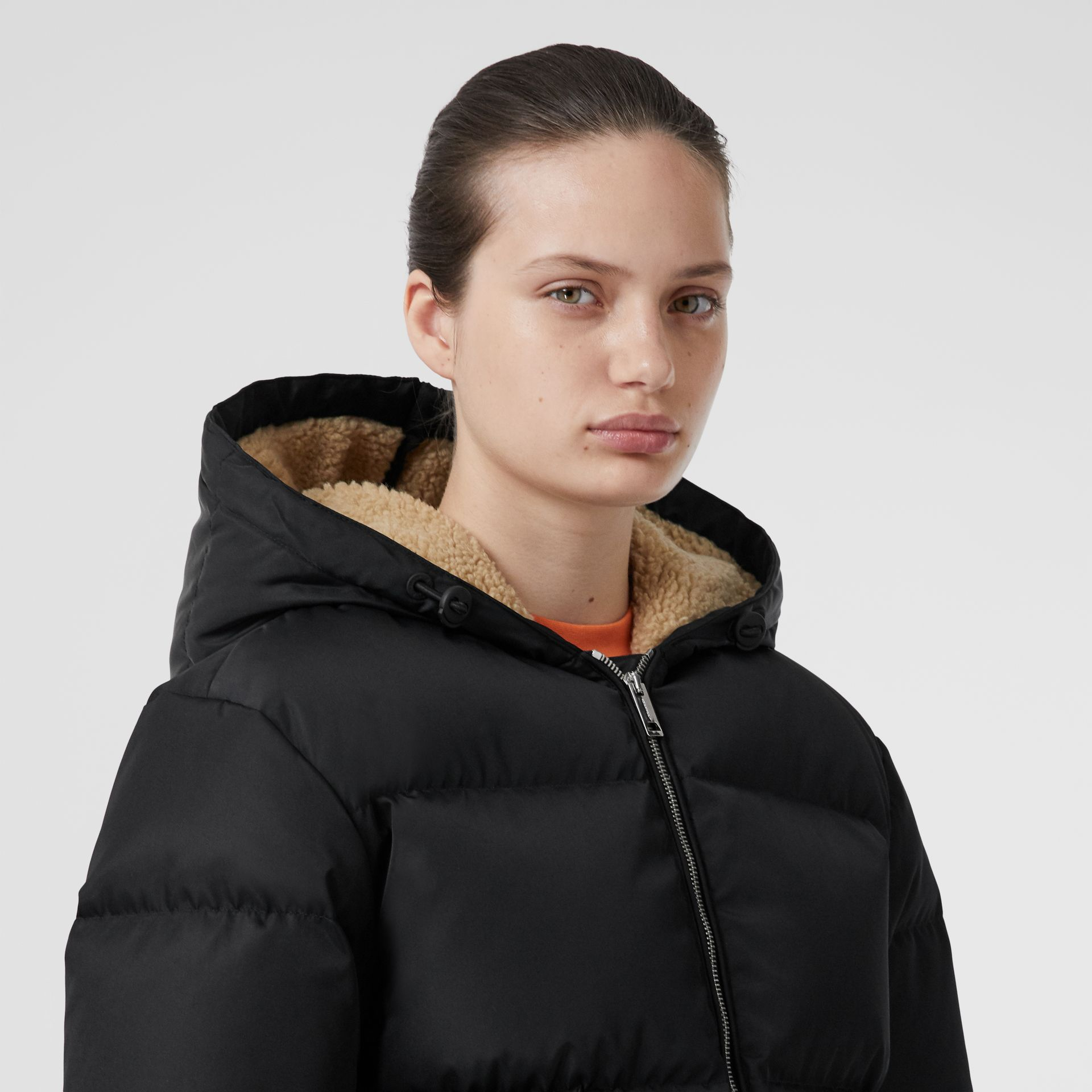 Logo Detail ECONYL® Puffer Jacket in Black - Women | Burberry - gallery image 5