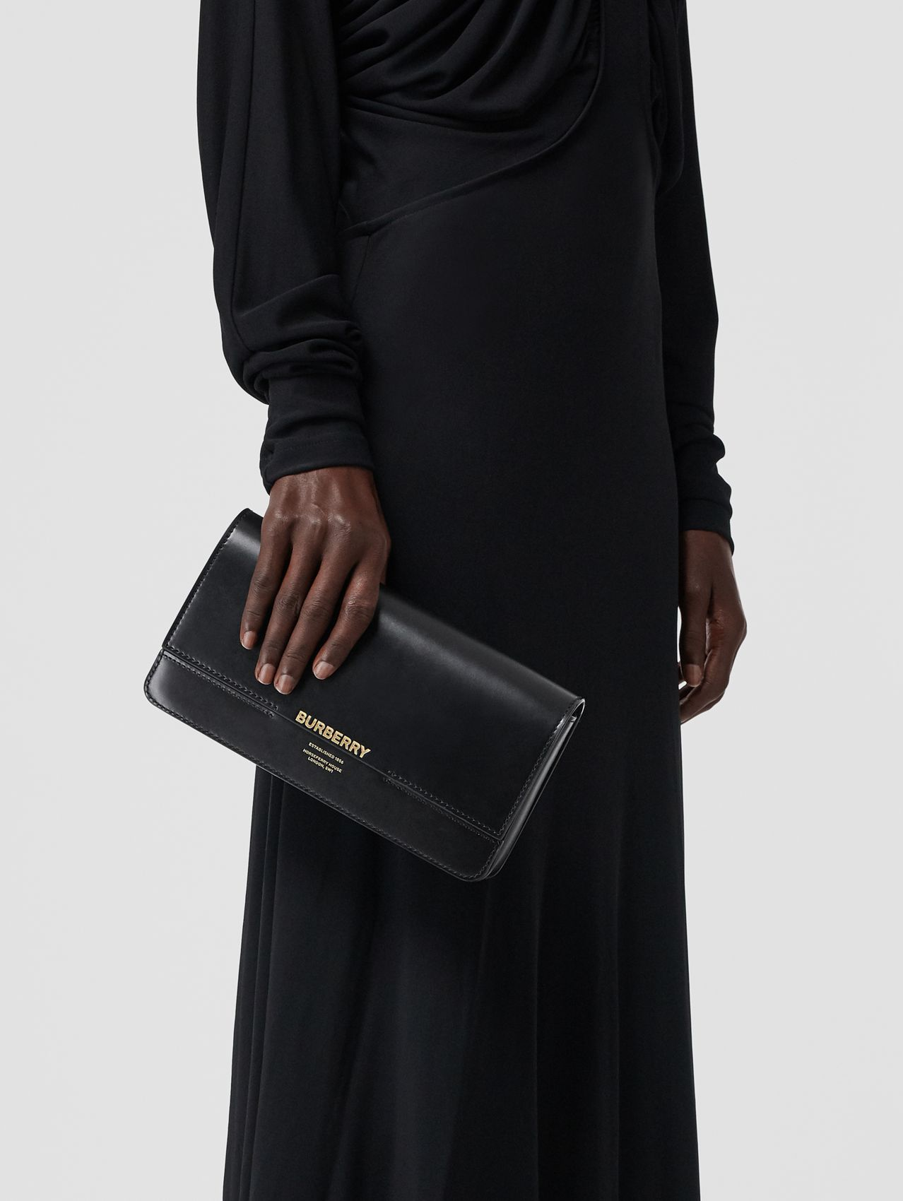 Clutch Grace en cuir in Noir