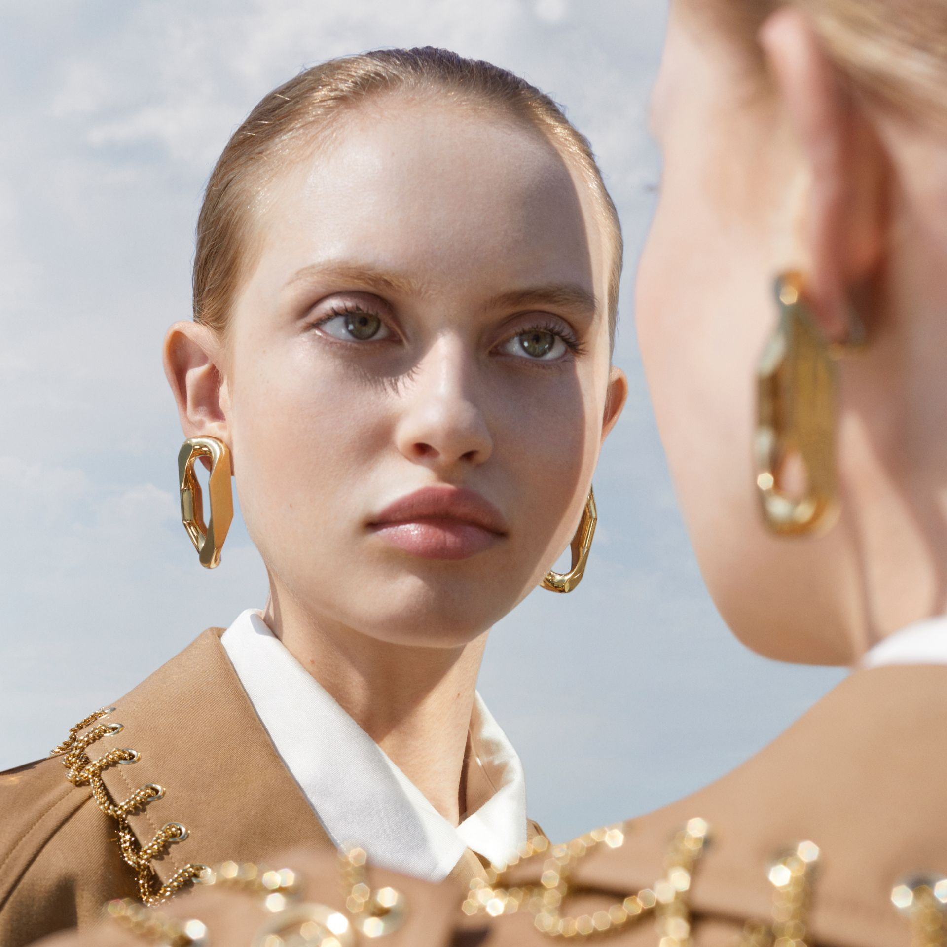 Large Gold-plated Chain Link Earrings in Light - Women | Burberry United Kingdom - gallery image 1