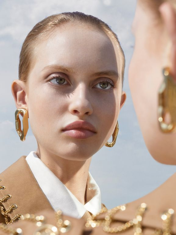 Large Gold-plated Chain Link Earrings in Light - Women | Burberry - cell image 1