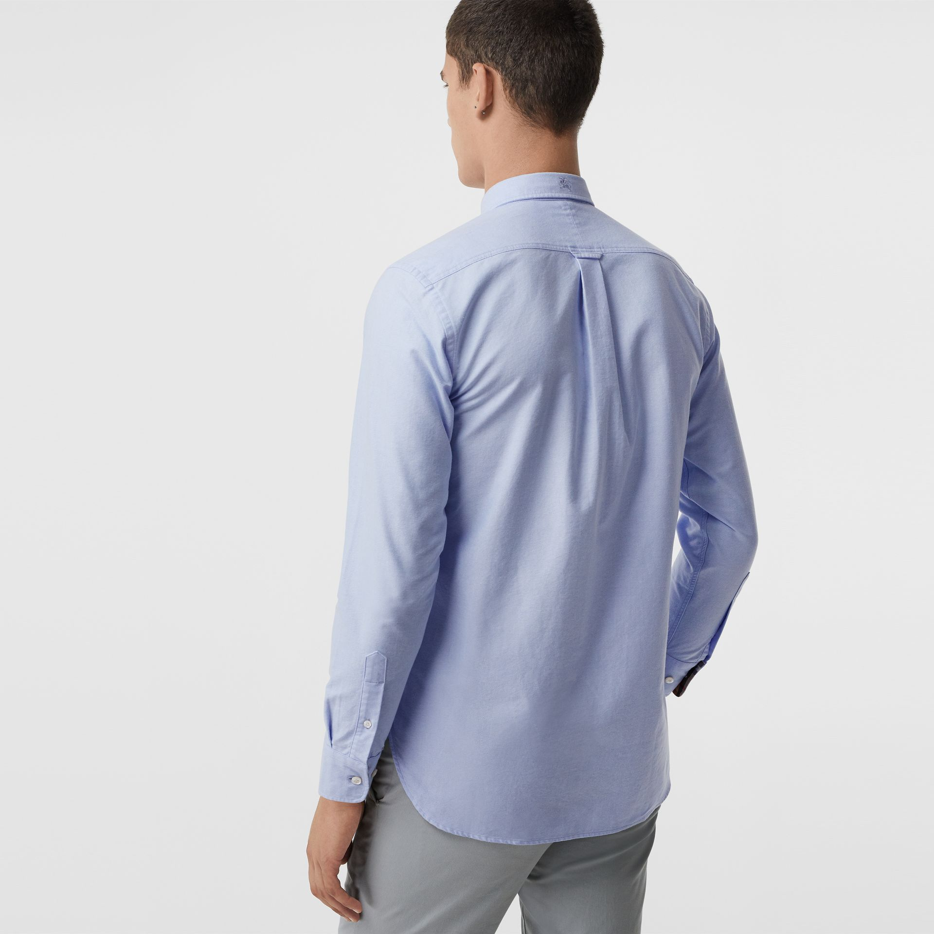 Check Cuff Cotton Oxford Shirt in Cornflower Blue - Men | Burberry - gallery image 2