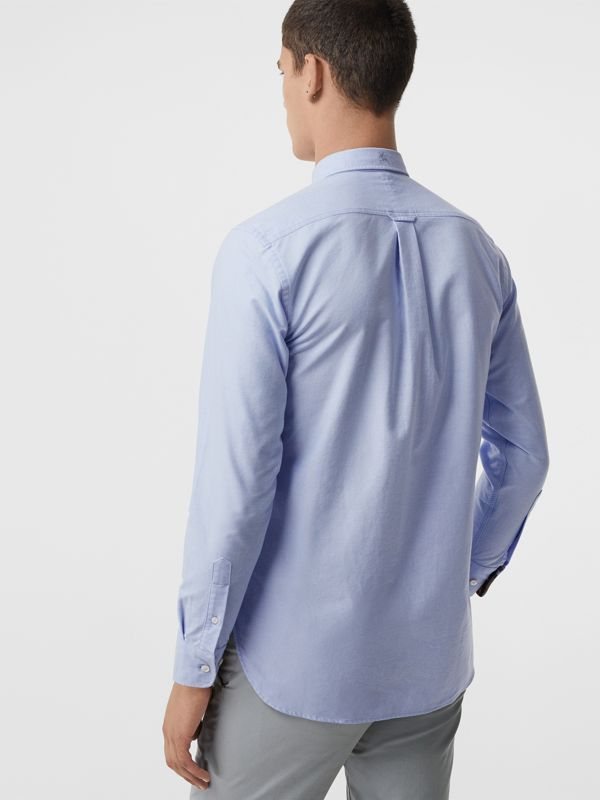 Check Cuff Cotton Oxford Shirt in Cornflower Blue - Men | Burberry United States - cell image 2