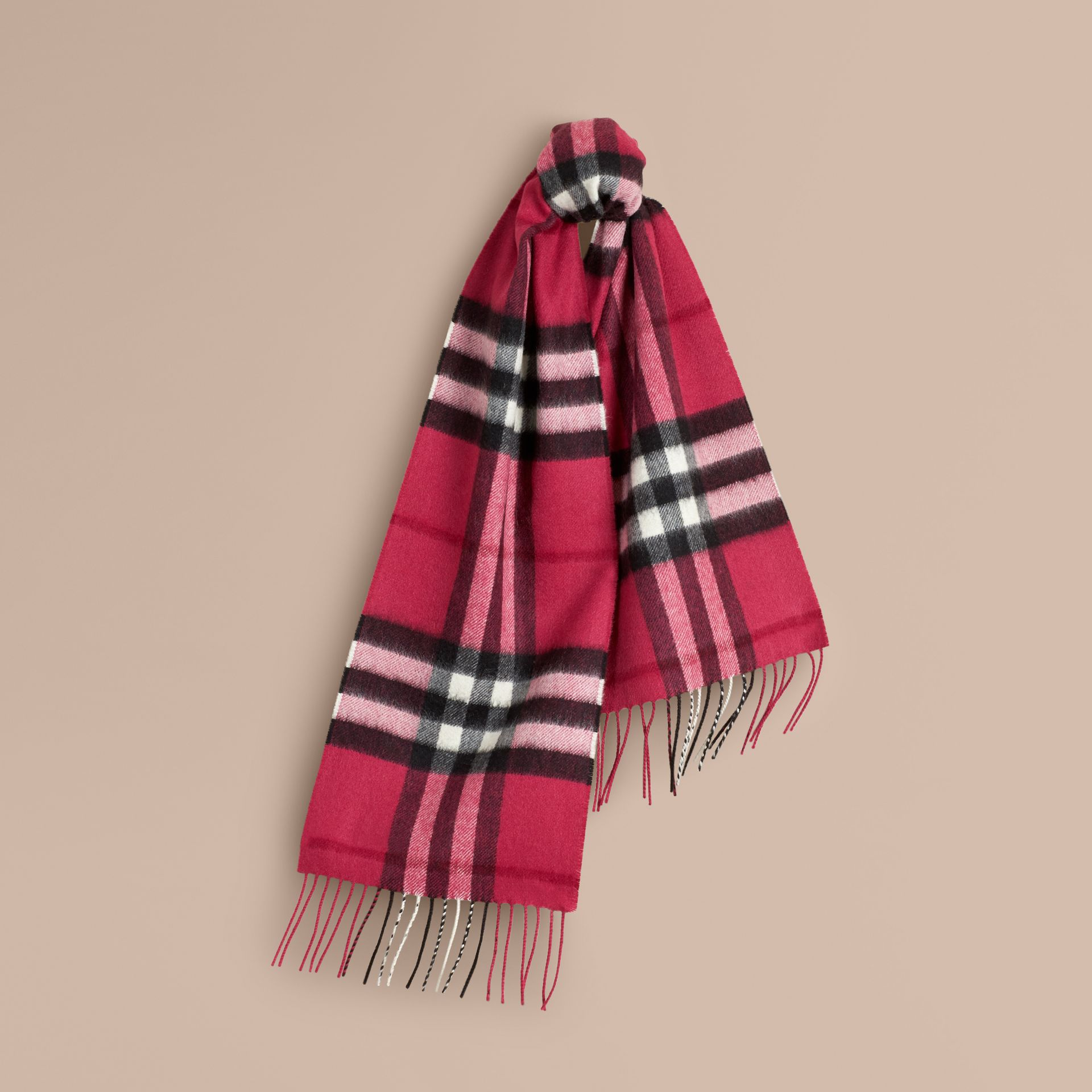 The Mini Classic Cashmere Scarf in Check in Fuchsia Pink - Girl | Burberry - gallery image 5