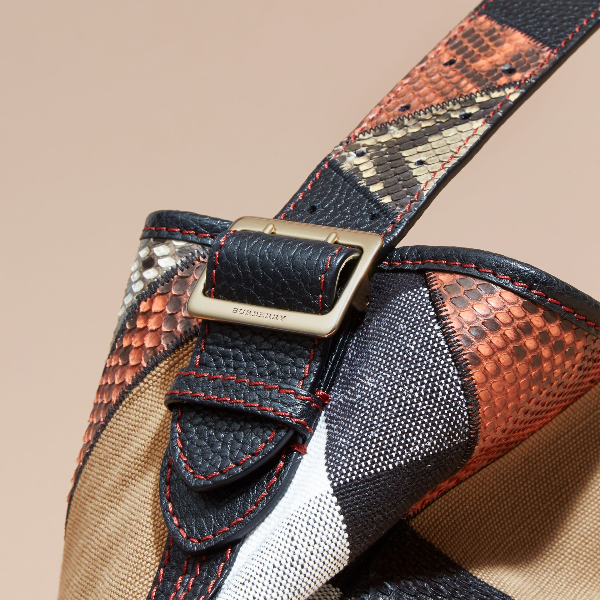 The Medium Ashby in Patchwork Canvas Check and Python - Women | Burberry - gallery image 5