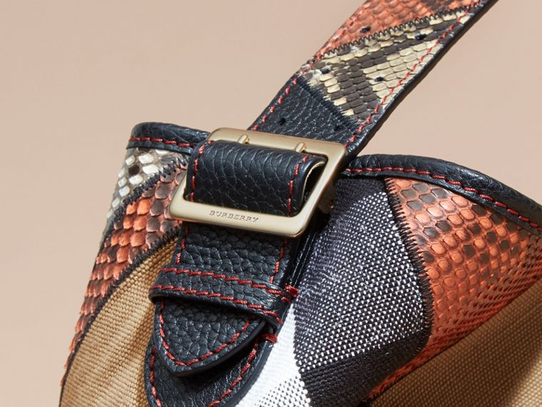 The Medium Ashby in Patchwork Canvas Check and Python - Women | Burberry - cell image 4