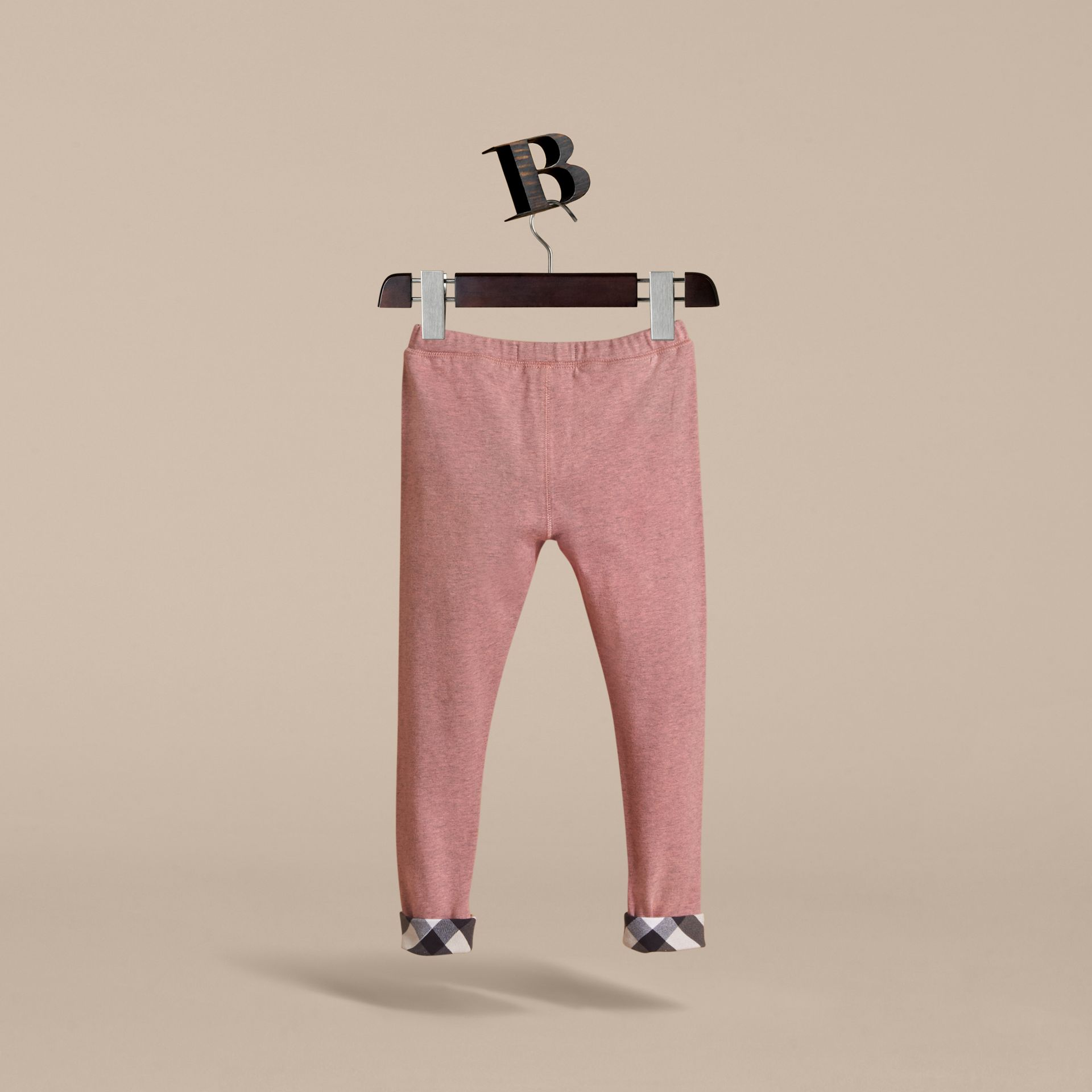 Check Cuff Stretch Cotton Jersey Leggings in Pale Pink Melange - Girl | Burberry - gallery image 4