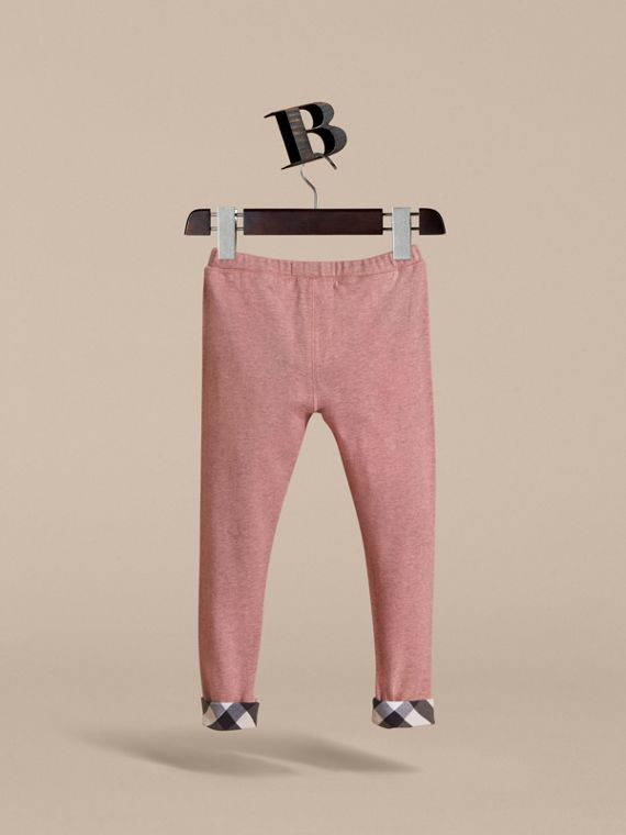 Check Cuff Stretch Cotton Jersey Leggings in Pale Pink Melange - Girl | Burberry - cell image 3