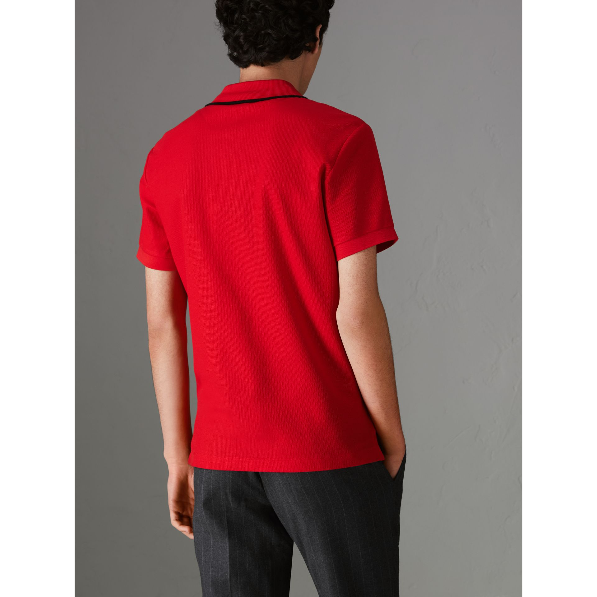 Archive Logo Cotton Piqué Polo Shirt in Military Red - Men | Burberry United Kingdom - gallery image 2
