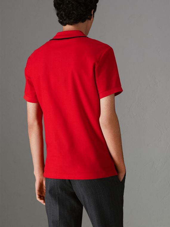 Archive Logo Cotton Piqué Polo Shirt in Military Red - Men | Burberry - cell image 2