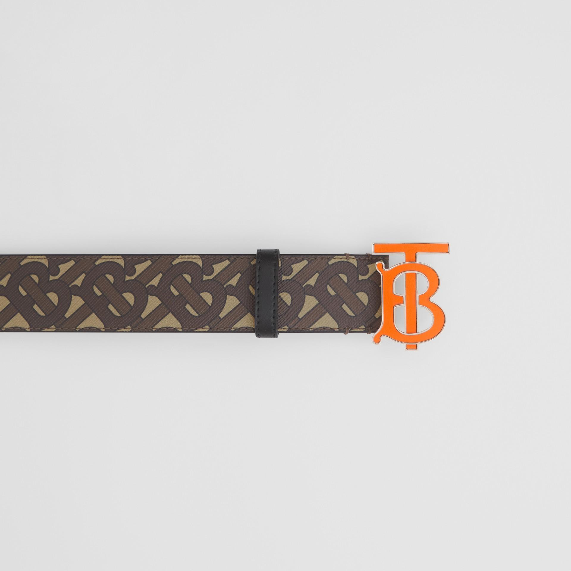 Monogram E-canvas Belt in Bridle Brown - Men | Burberry United Kingdom - gallery image 1
