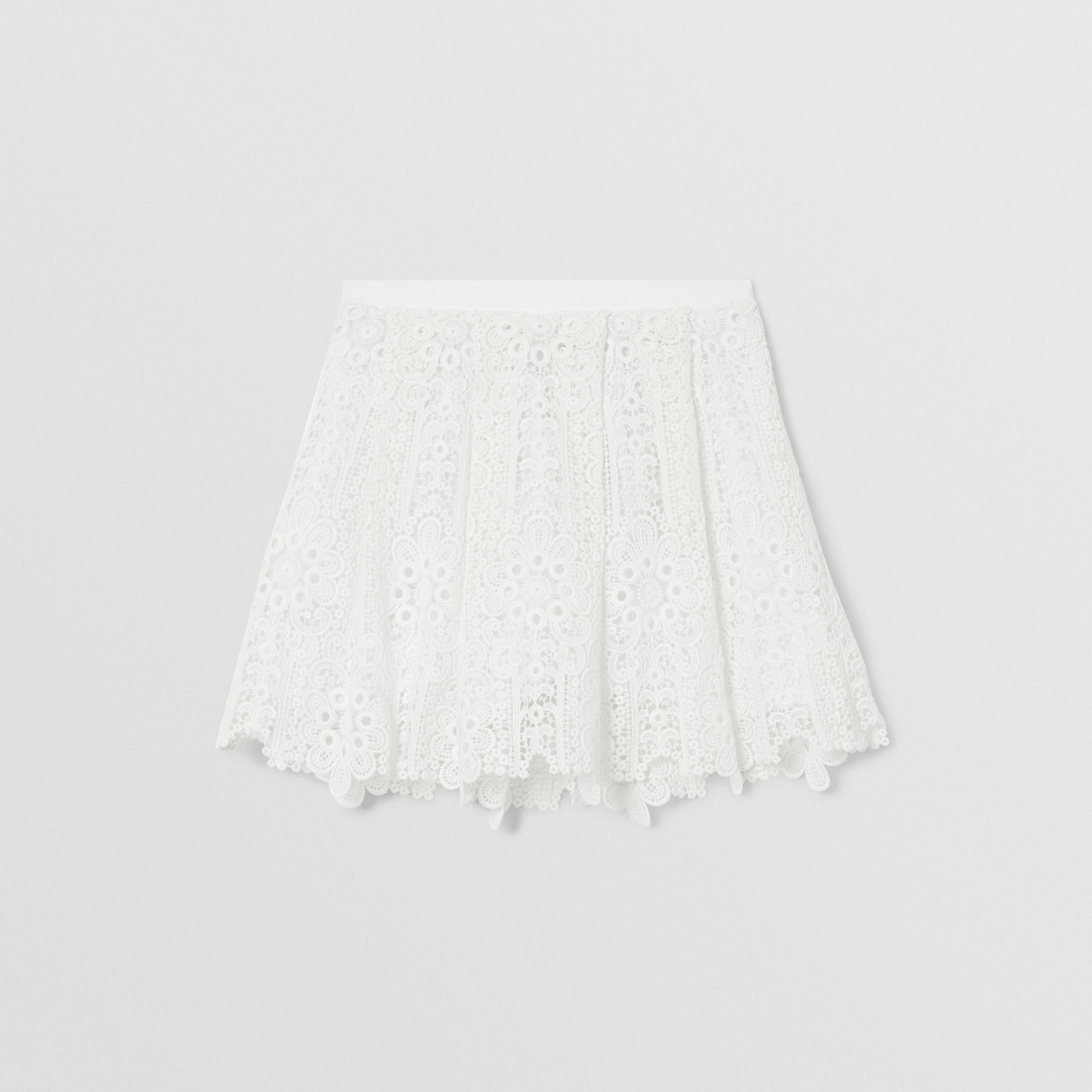 Pleated Macramé Lace Skirt in White | Burberry - 4