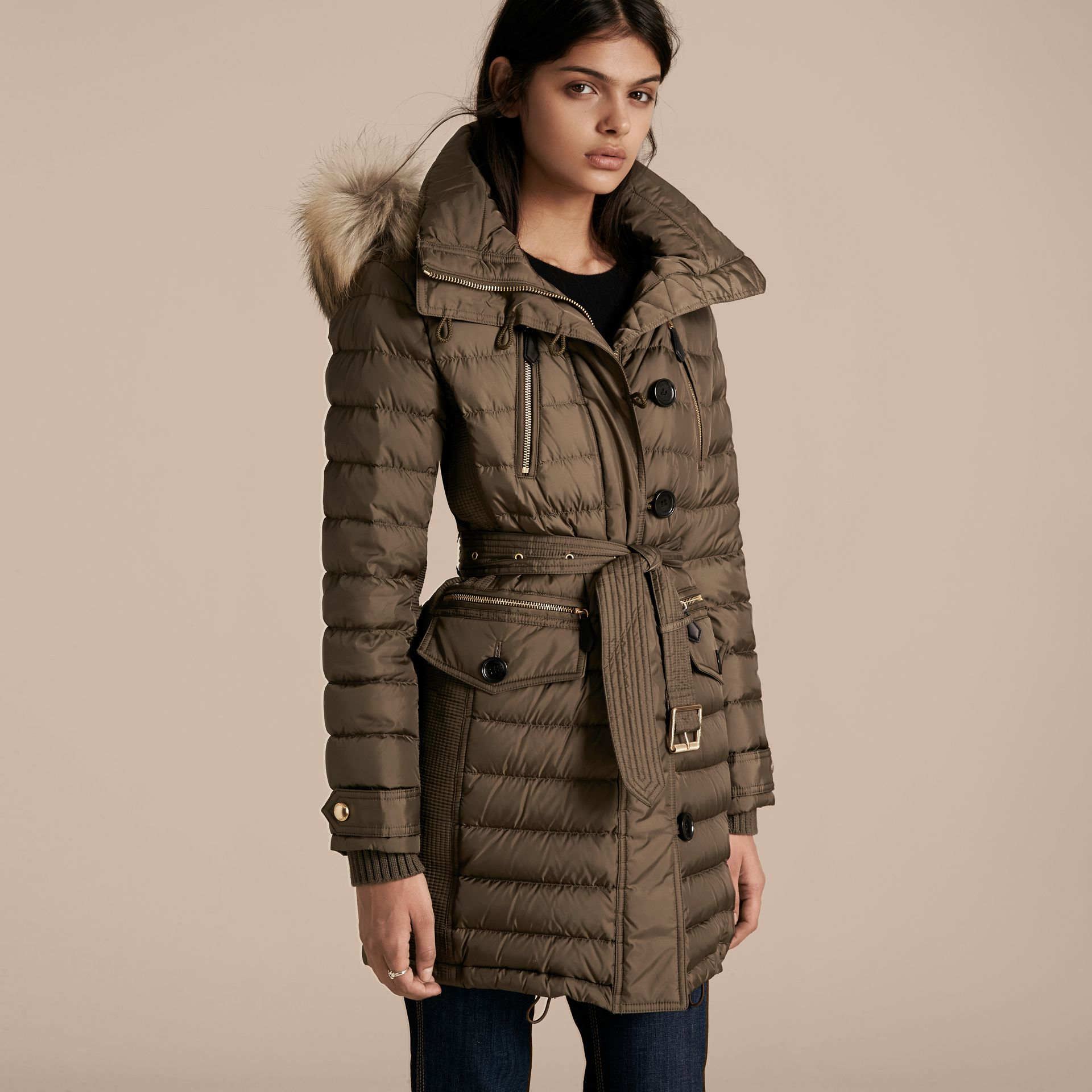 Mink grey Slim Fit Down-filled Parka with Fur Trim Mink Grey - gallery image 7