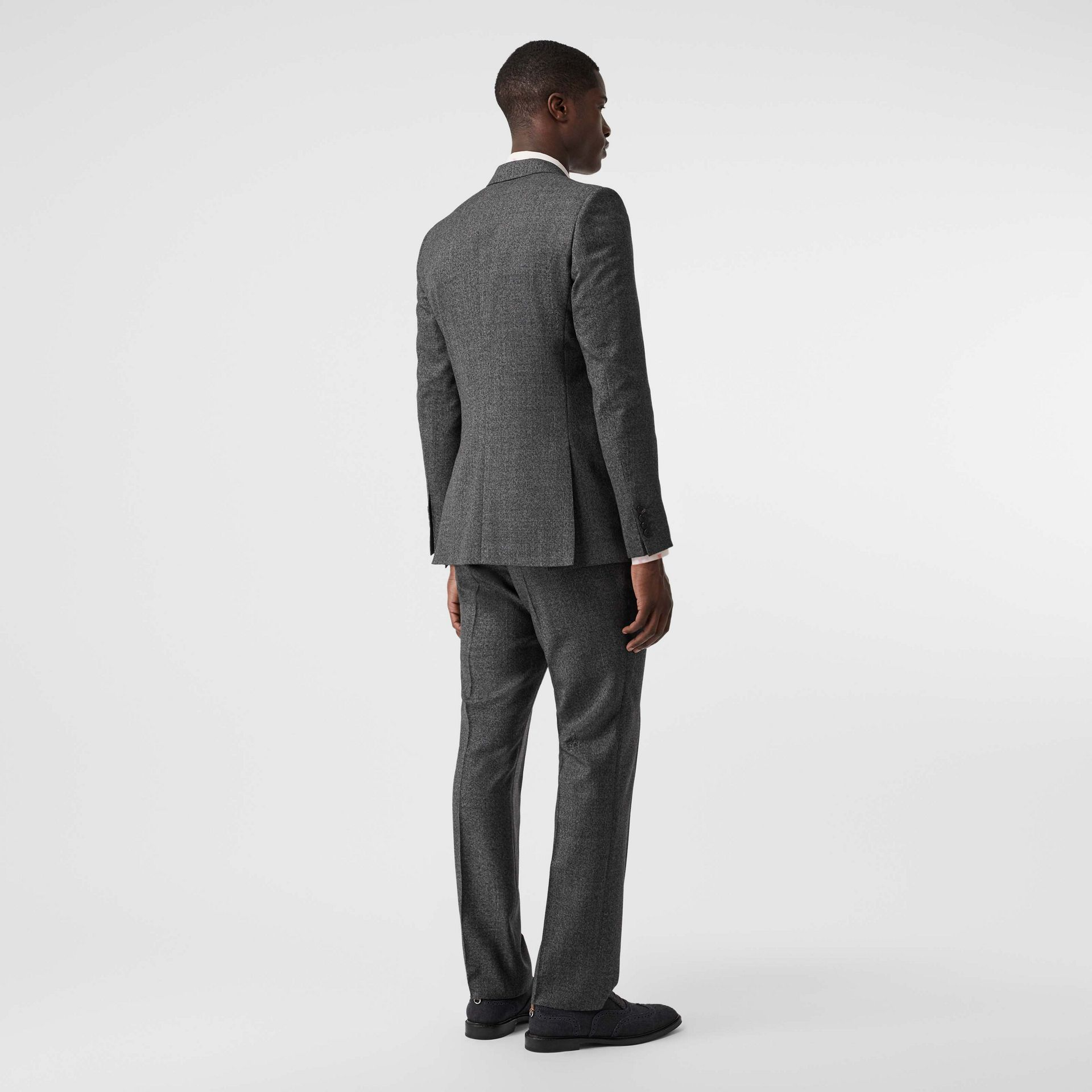 English Fit Sharkskin Wool Suit in Black Melange - Men | Burberry - gallery image 2