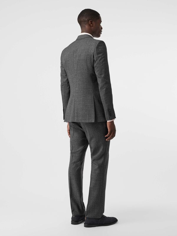 English Fit Sharkskin Wool Suit in Black Melange - Men | Burberry - cell image 2