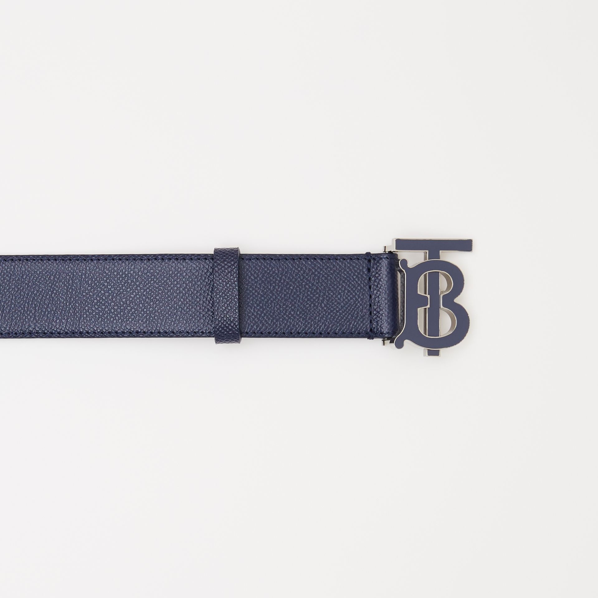 Monogram Motif Grainy Leather Belt in Navy - Men | Burberry United Kingdom - gallery image 1