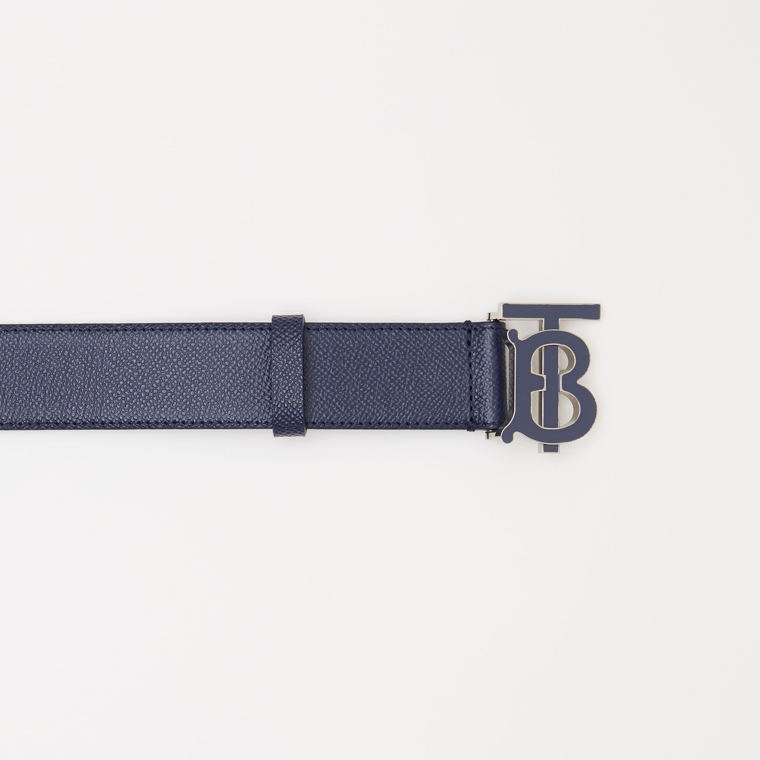 Monogram Motif Grainy Leather Belt in Navy - Men | Burberry Canada - 2
