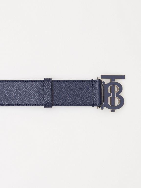 Monogram Motif Grainy Leather Belt in Navy - Men | Burberry United Kingdom - cell image 1