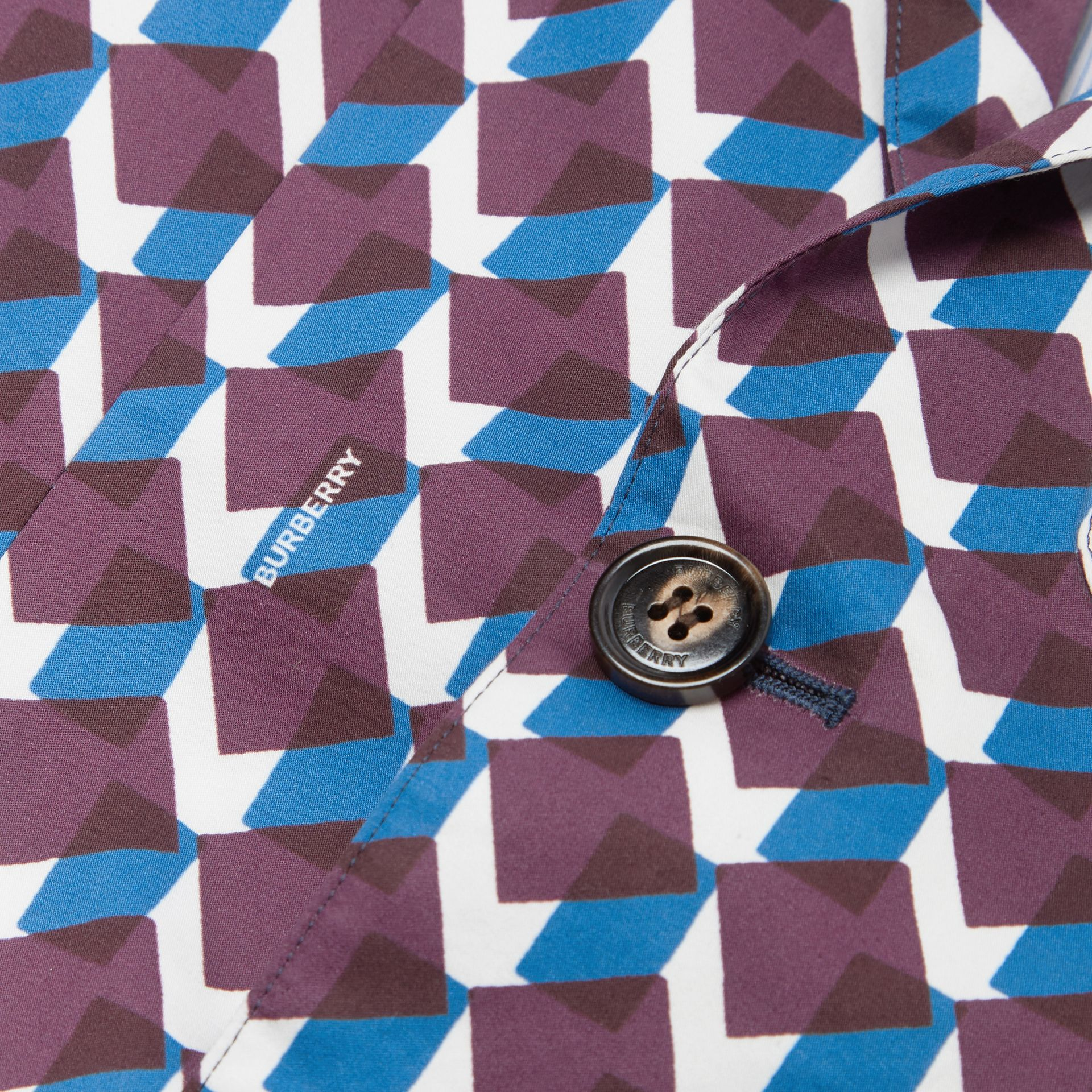 Geometric Print Cotton Blazer in Mineral Blue | Burberry - gallery image 1