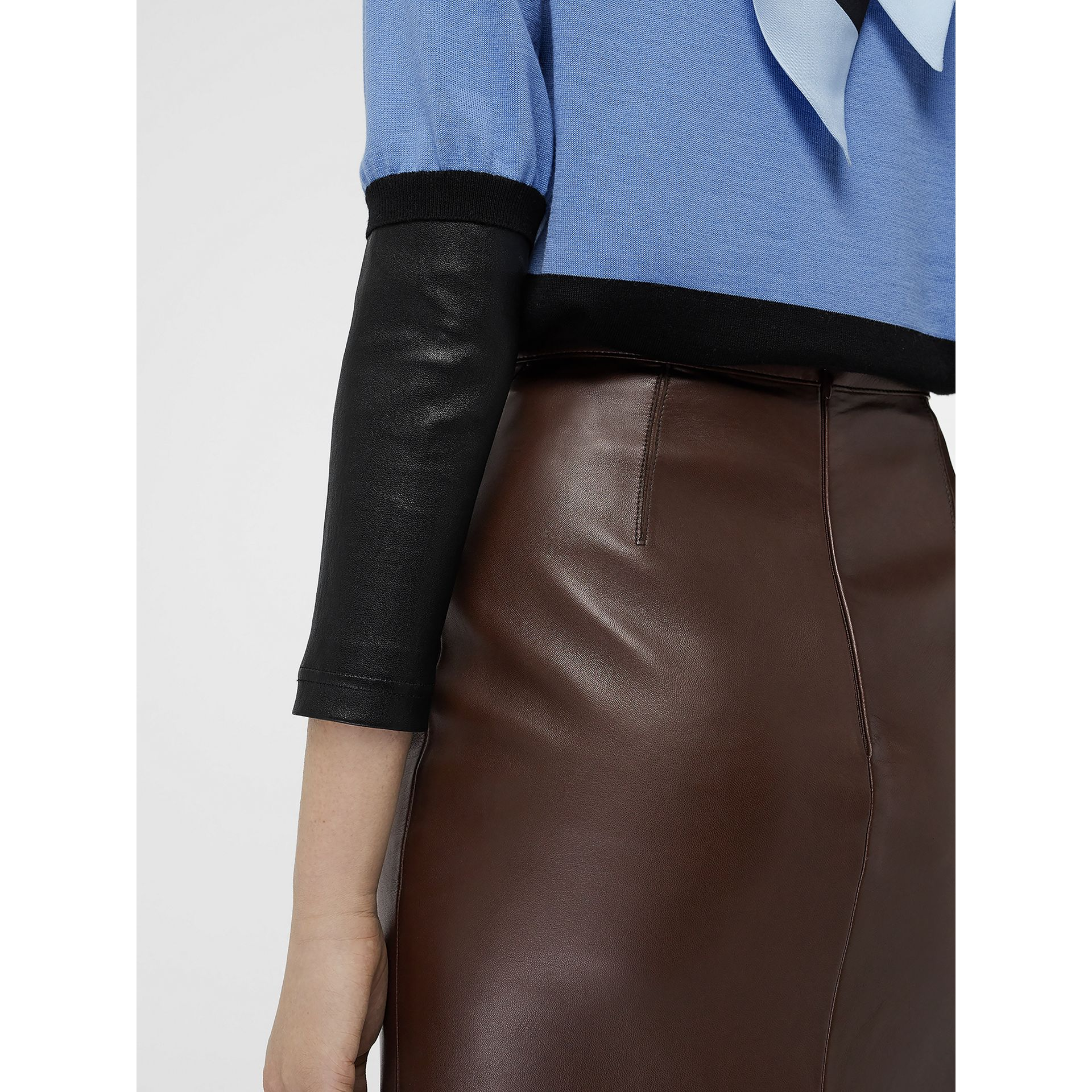 Lambskin Pencil Skirt in Mahogany - Women | Burberry Singapore - gallery image 1