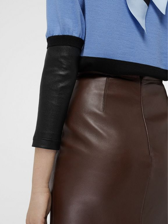 Lambskin Pencil Skirt in Mahogany - Women | Burberry - cell image 1