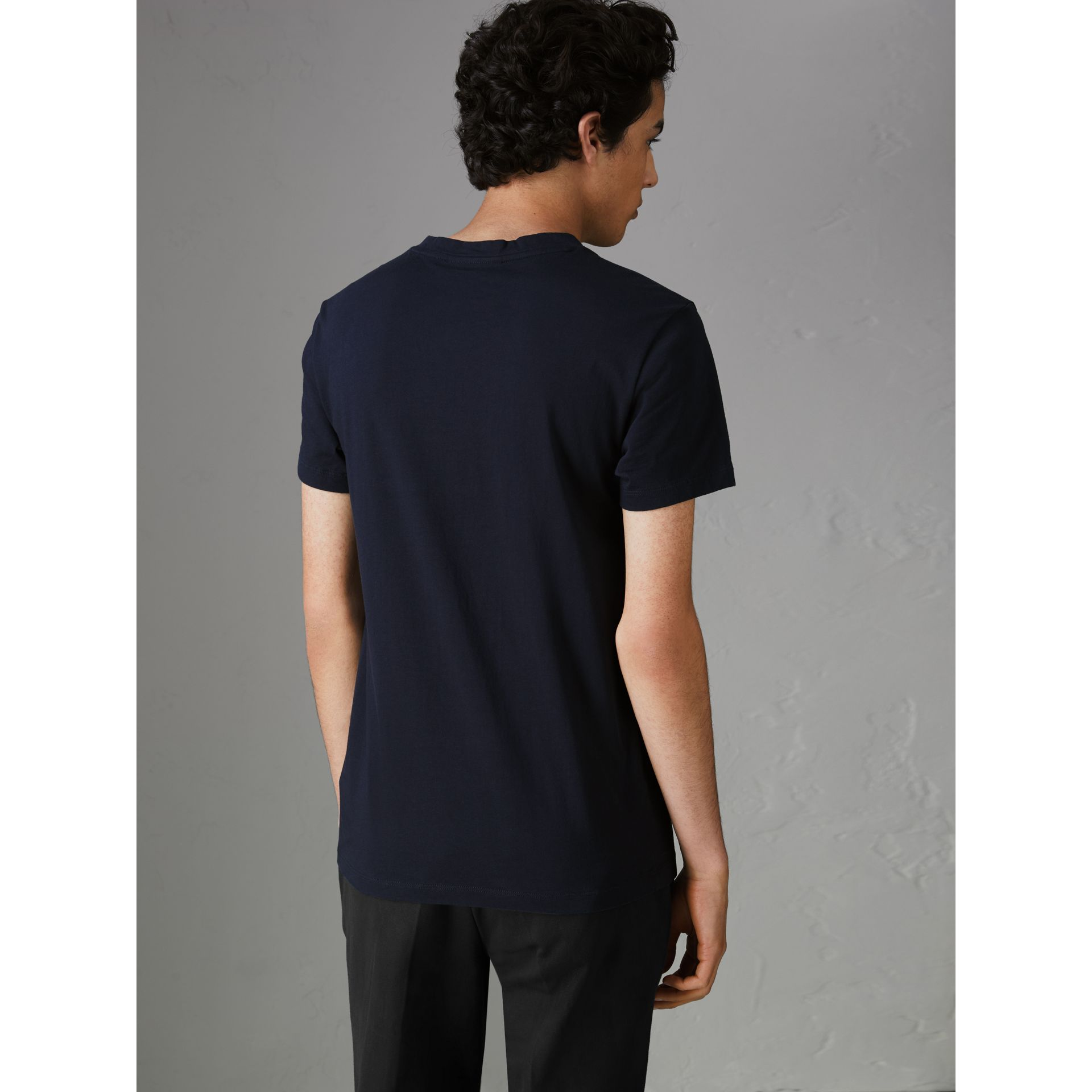 Archive Logo Cotton T-shirt in Navy - Men | Burberry Singapore - gallery image 2