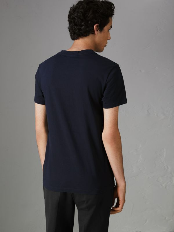 Archive Logo Cotton T-shirt in Navy - Men | Burberry - cell image 2