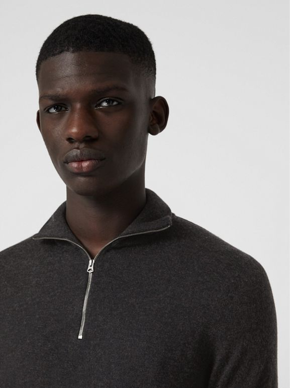 Zip-neck Cashmere Cotton Sweater in Charcoal - Men | Burberry United States - cell image 1