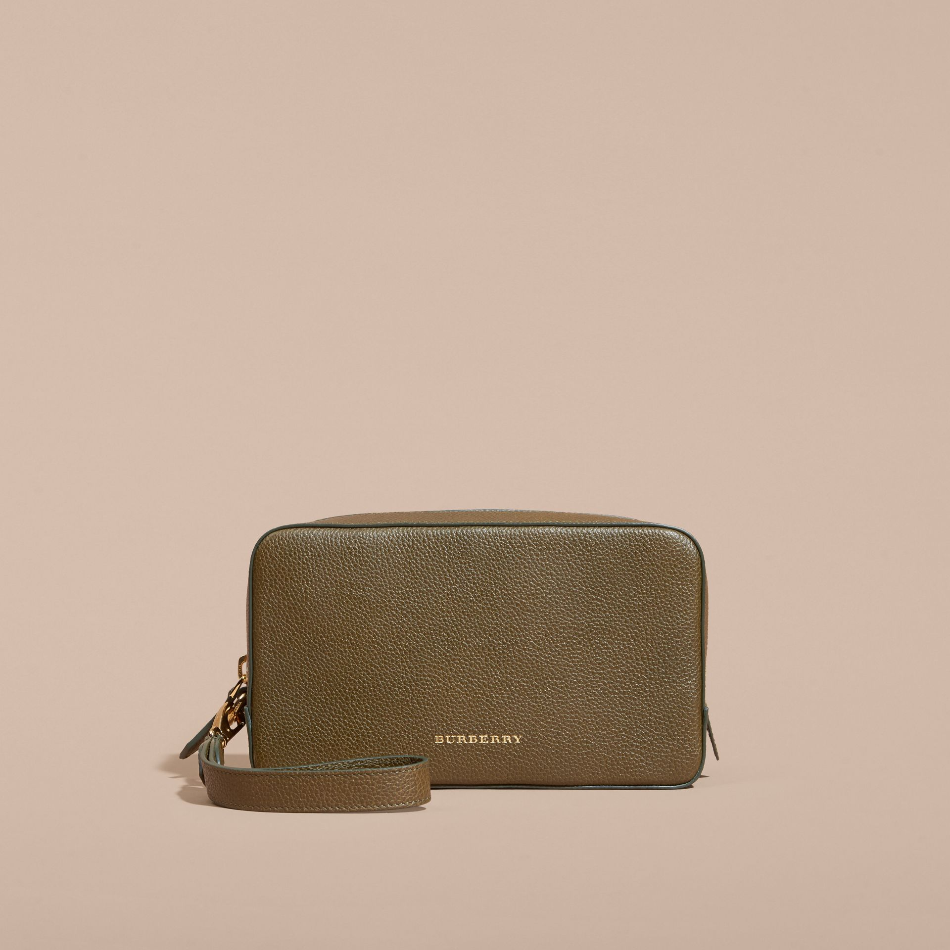 Olive green Grainy Leather Washbag Olive Green - gallery image 7