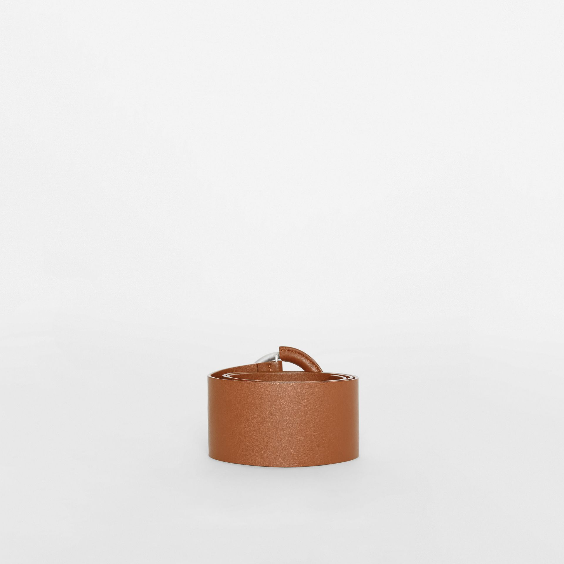 Round Buckle Leather Belt in Tan - Women | Burberry - gallery image 3