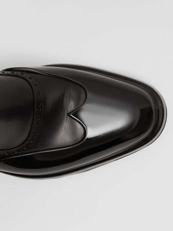 Toe Cap Detail Leather Chelsea Boots in Black | Burberry - cell image 1