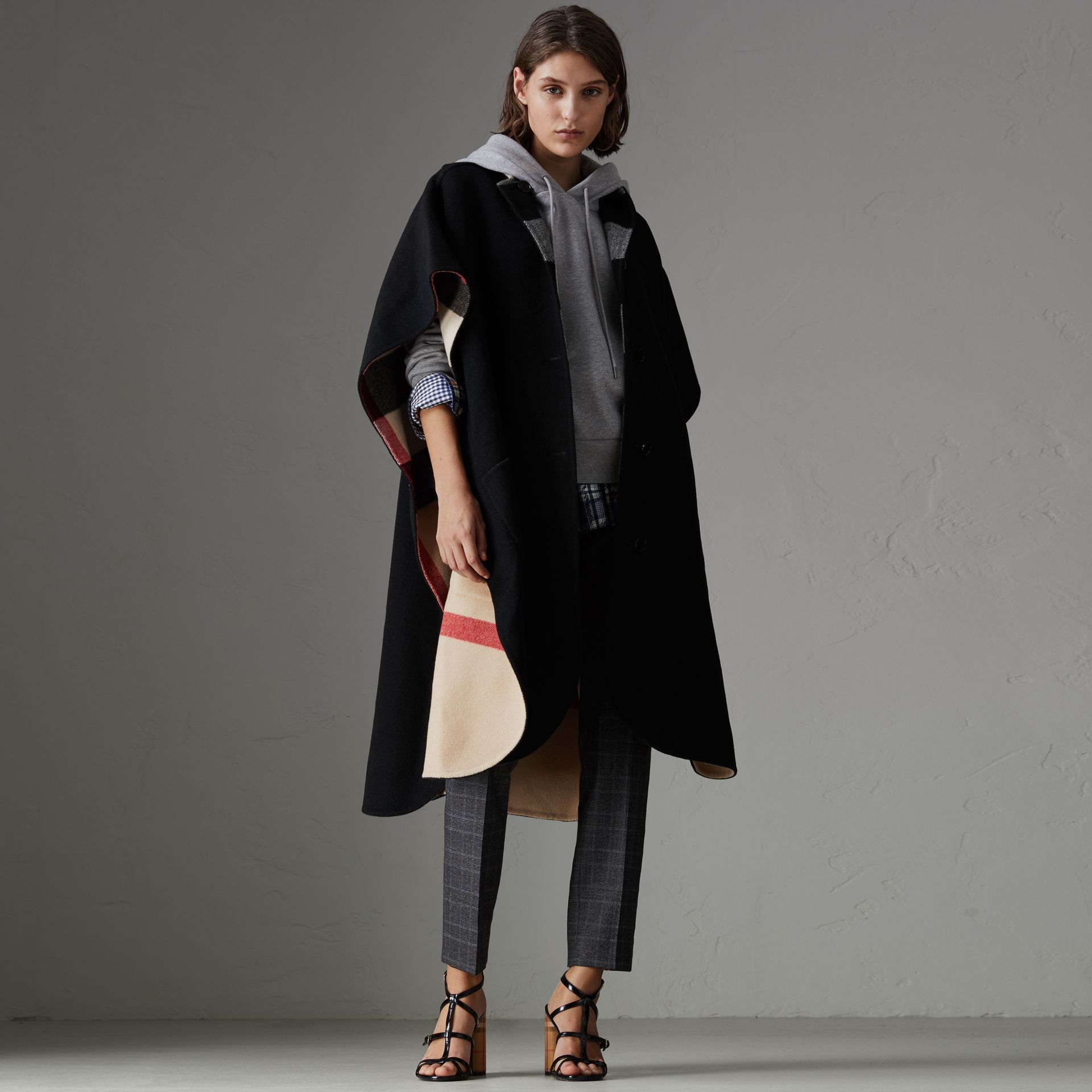 Reversible Check Oversized Poncho in Black - Women | Burberry Hong Kong - gallery image 0