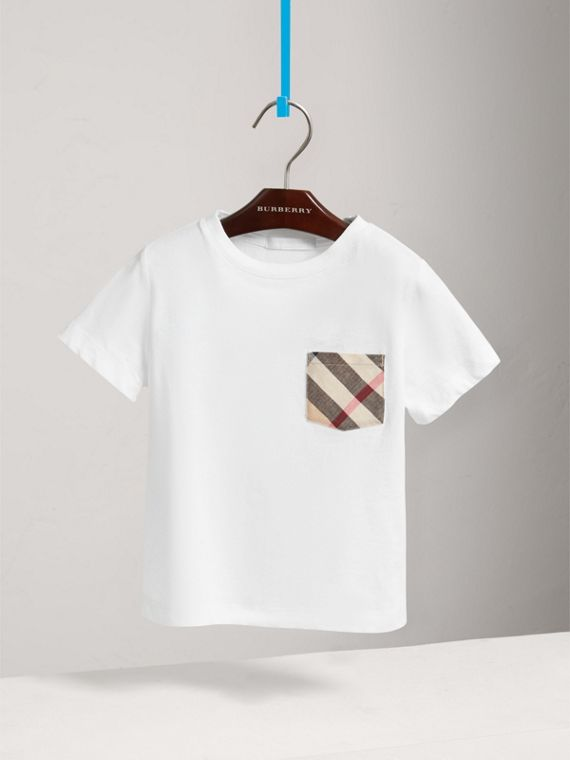 Long-sleeve Check Pocket Cotton T-shirt in White - Boy | Burberry - cell image 2