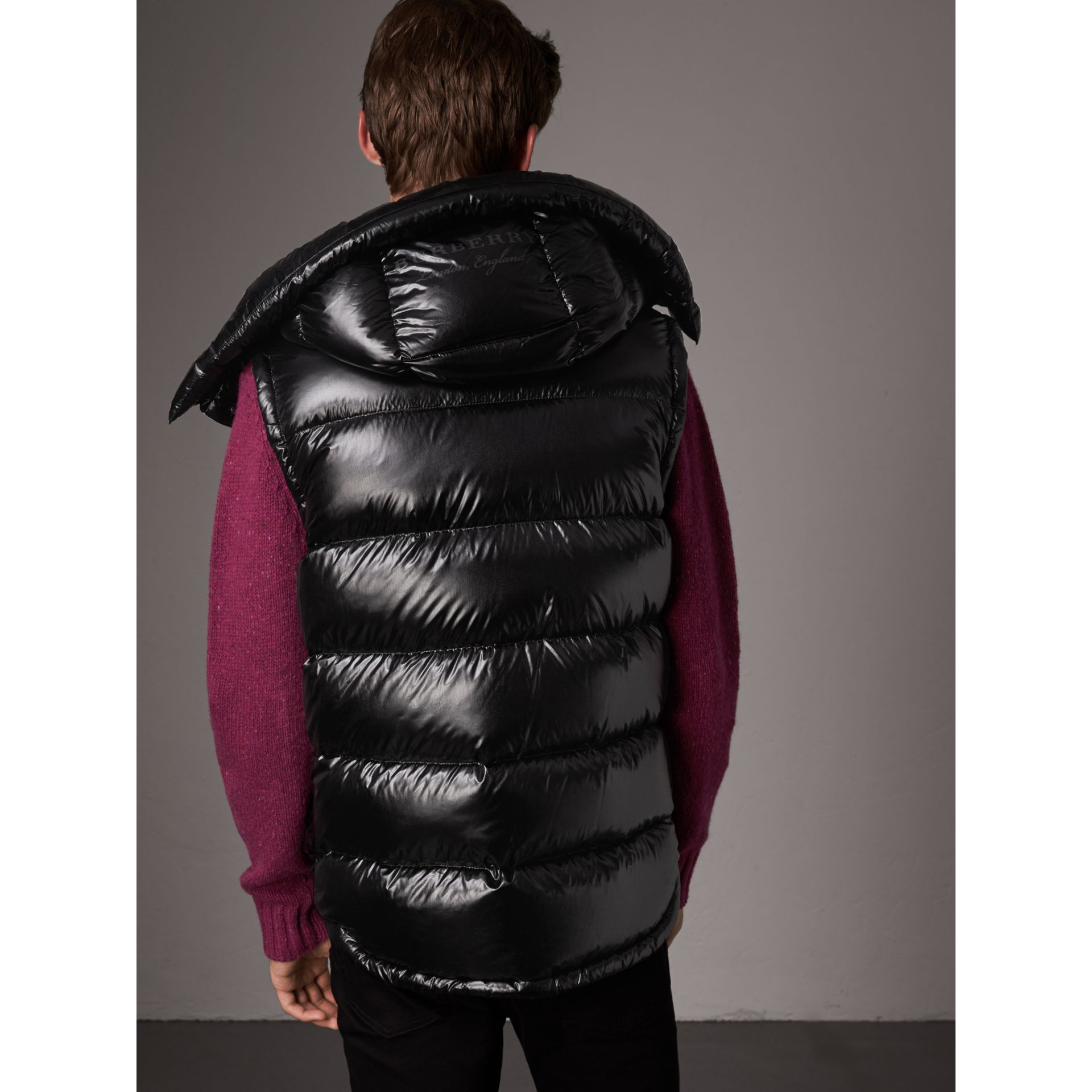 Detachable Hood Down-filled Gilet in Black - Men | Burberry - gallery image 3