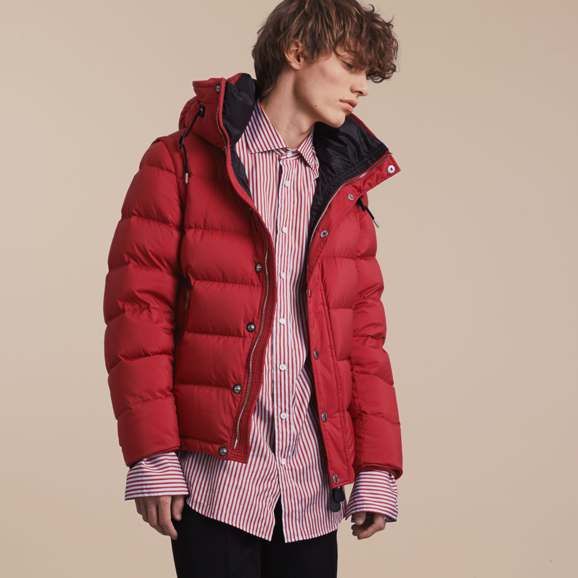 Down-filled Hooded Jacket with Detachable Sleeves in Parade Red - gallery image 6