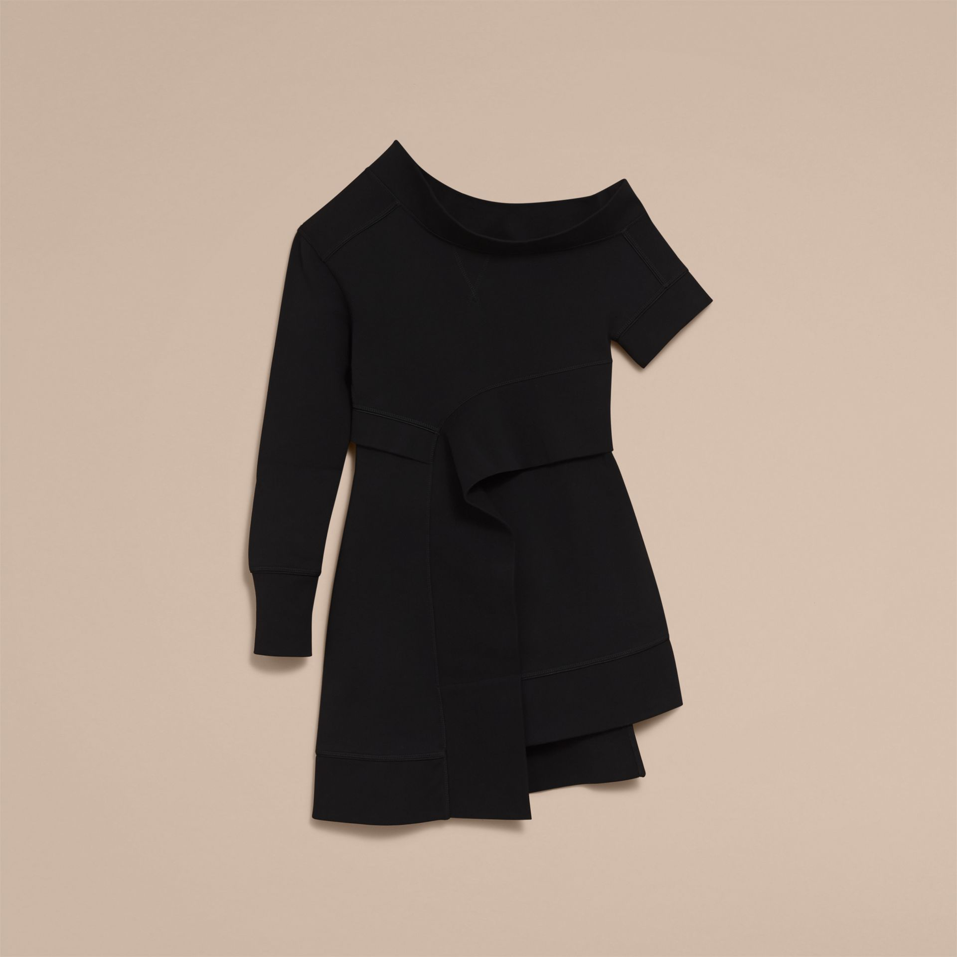 Asymmetric Sweatshirt Dress in Black - Women | Burberry - gallery image 4
