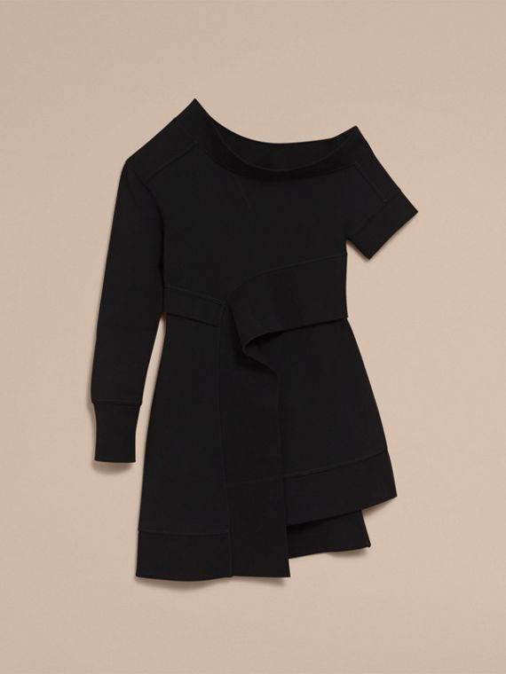 Asymmetric Sweatshirt Dress in Black - Women | Burberry - cell image 3