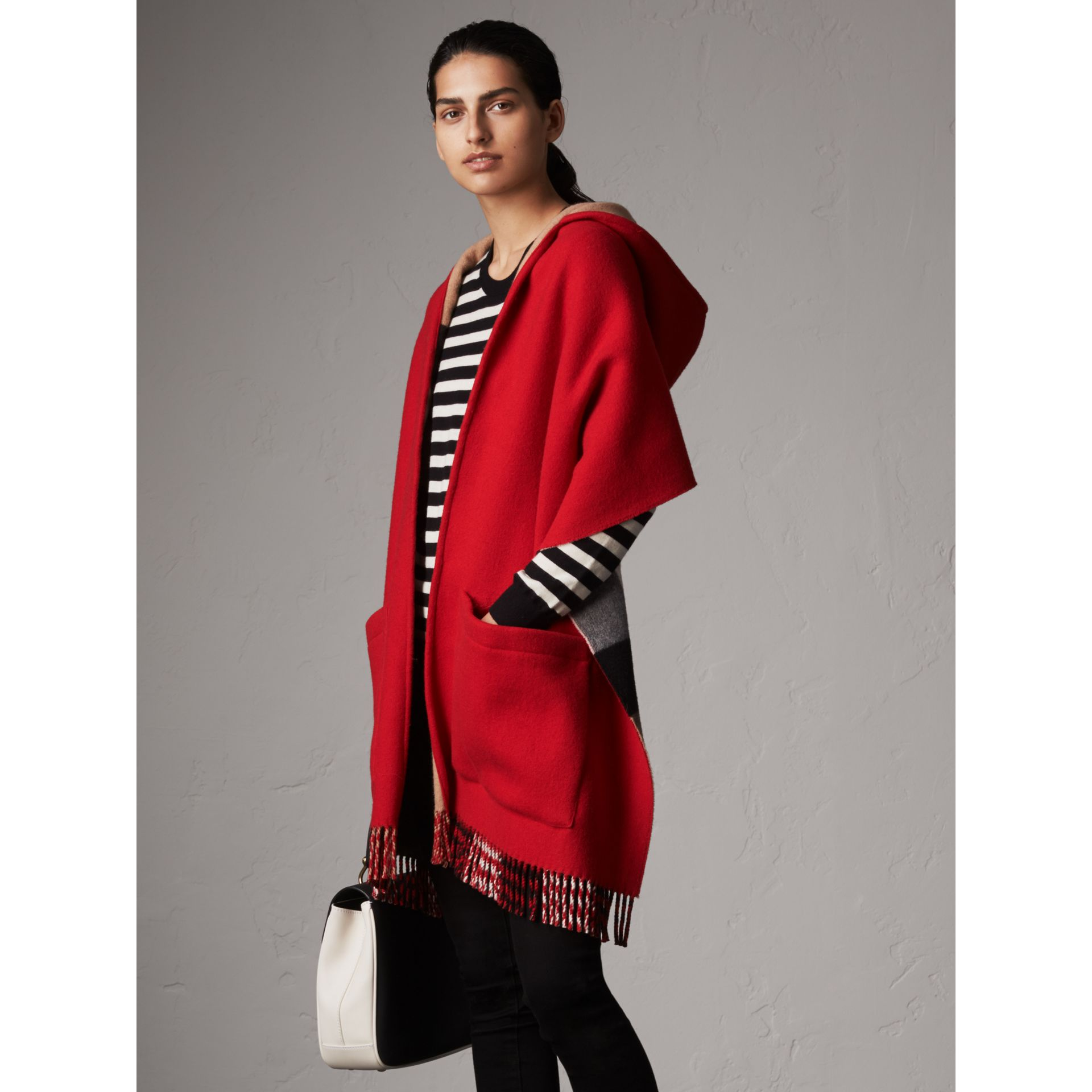 Check-lined Wool Cashmere Hooded Stole in Military Red/camel - Women | Burberry - gallery image 1