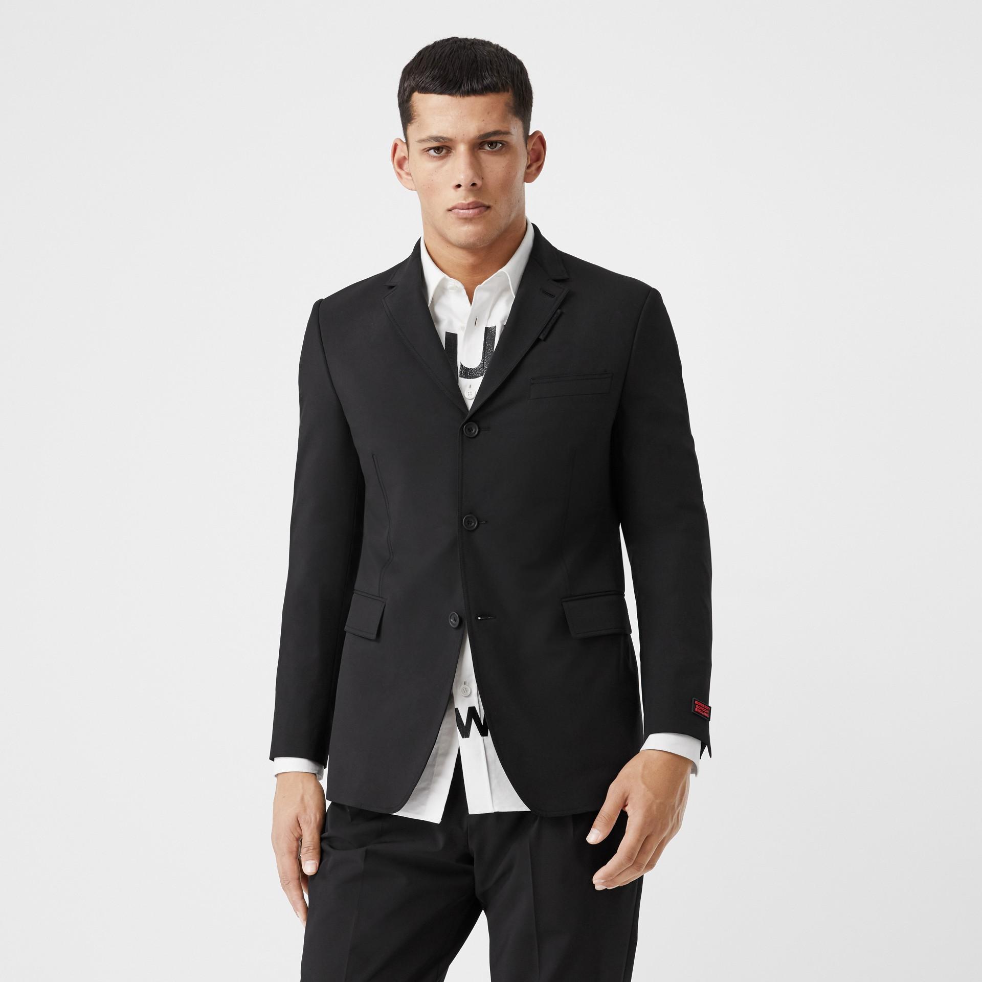 Veste de costume slim en nylon technique (Noir) - Homme | Burberry - photo de la galerie 0