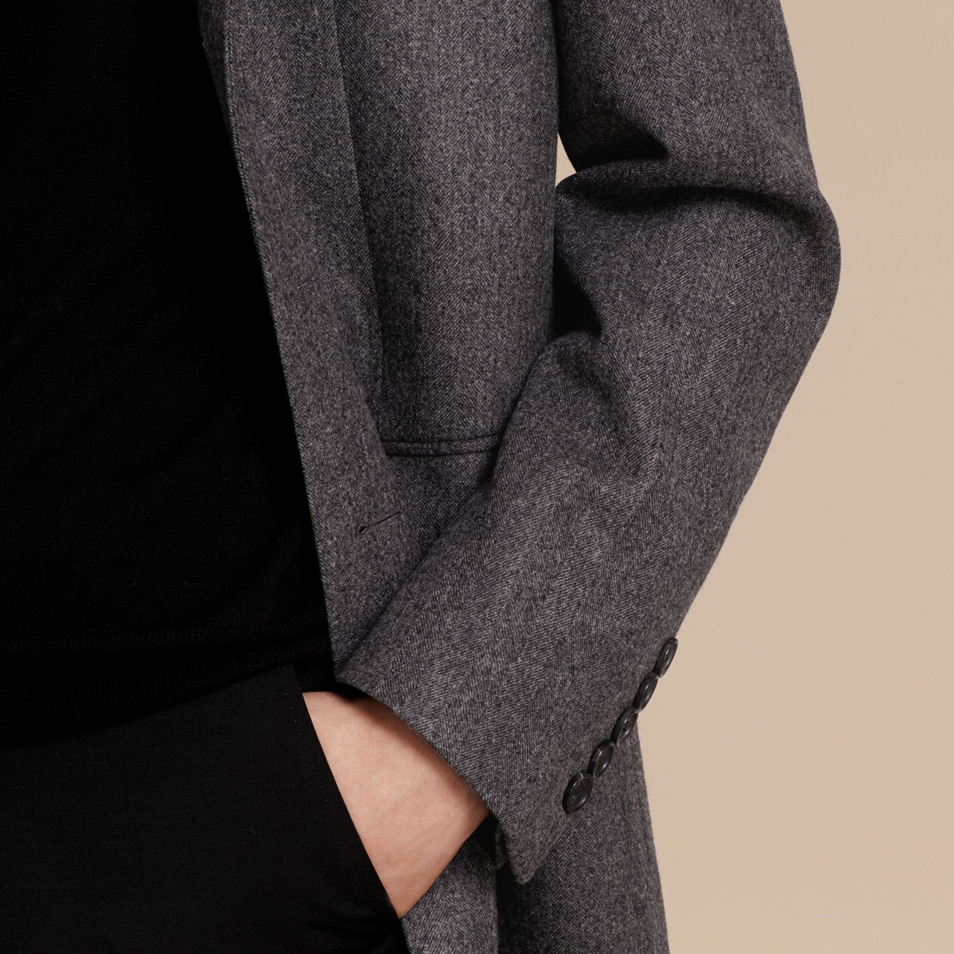 Mid grey Wool Herringbone Tailored Coat - gallery image 5